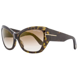 Tom Ford TF460 Corinne 52G Women's Dark Havana/Brown Gradient/Flash Gold Lens Sunglasses