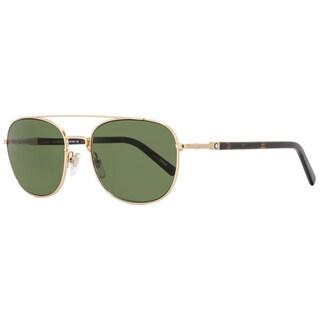 Montblanc MB597S 28N Men's Rose Gold/Havana Frame Green Lens Sunglasses