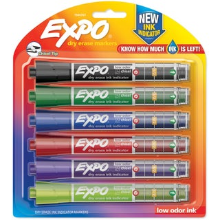Expo Ink Indicator Dry Erase Chisel Markers 6/Pkg