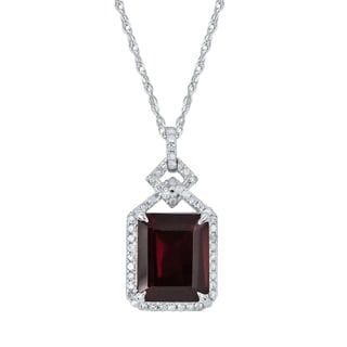 Viducci 10k White Gold Genuine Emerald-cut Garnet and 1/4ct Diamond Halo Necklace