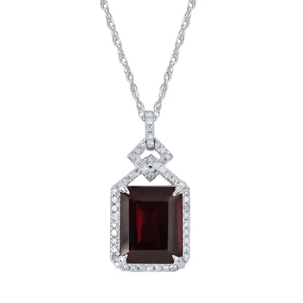 Emerald Cut  Red Garnet 7 ct Gemstone Solitaire Pendant Necklace 14K gemstones Solid Gold