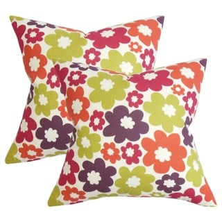Set of 2 Quilla Floral Throw Pillows in Purple