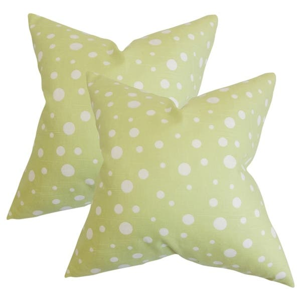Terrific Set Of 2 Bebe Polka Dots Throw Pillows In Celery Green Machost Co Dining Chair Design Ideas Machostcouk