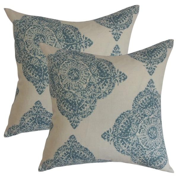 Set of 2 Daganya Damask Throw Pillows in Aqua