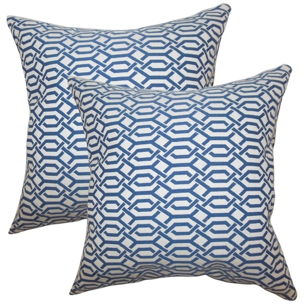 Set of 2 Catriona Geometric Throw Pillows in Blue