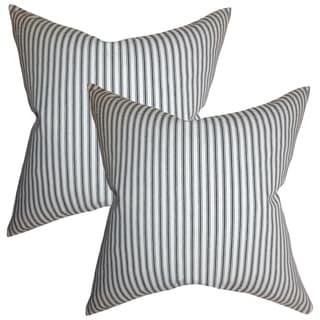 Set of 2  Ferebee Stripes Throw Pillows in Gray