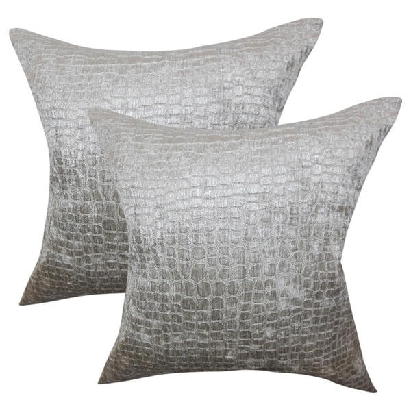 Set of 2 Fiachra Solid Throw Pillows in Silver