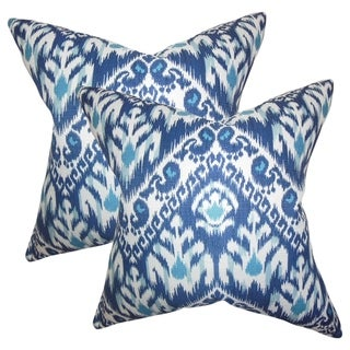 Set of 2  Rafiq Ikat Throw Pillows in Blue