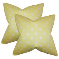 Set of 2  Nancy Polka Dots Throw Pillows in Canary