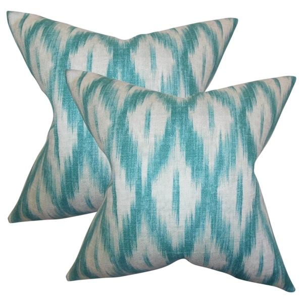 Set of 2 Yitzhak Ikat Throw Pillows in Blue
