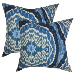 Set of 2  Iovenali Ikat Throw Pillows in Blue