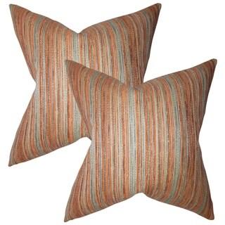 Set of 2  Bartram Stripes Throw Pillows in Orange