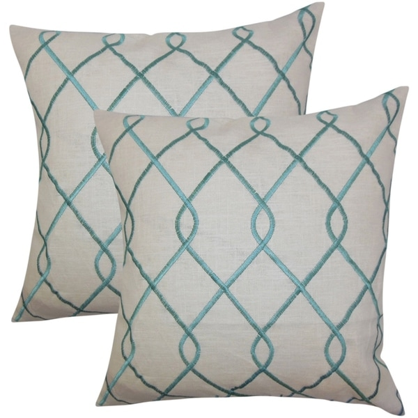 Set Of 2 Jolo Geometric Throw Pillows In Aqua Blue On Free Shipping Today 18153703