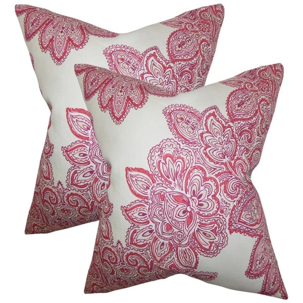 Set of 2 Haldis Floral Throw Pillows in Rose