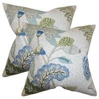 Set of 2  Ahna Floral Throw Pillows in Aqua
