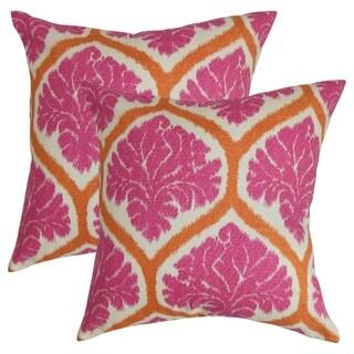 Set of 2  Priya Floral Throw Pillows in Pink