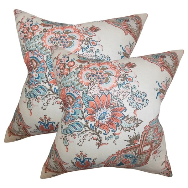 Set of 2 Laelia Floral Throw Pillows in Coral