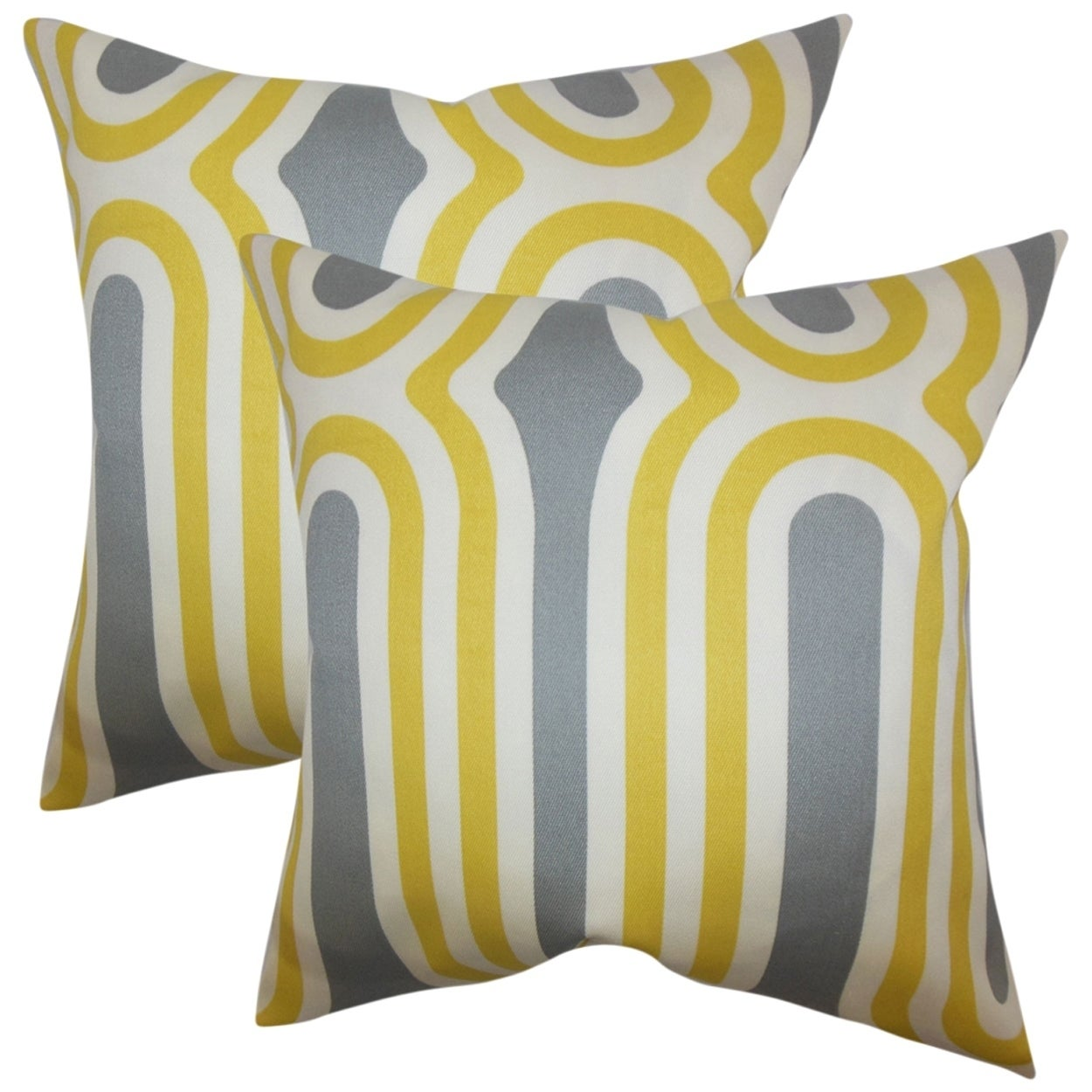 Set of 2  Persis Geometric Throw Pillows in Yellow
