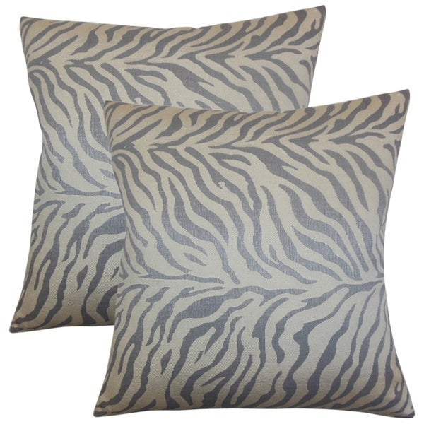 Set Of 40 Helaine Zebra Print Throw Pillows In Slate Free Shipping Classy Zebra Print Decorative Pillows