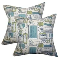 Set of 2  Reginy Typography Throw Pillows in Blue