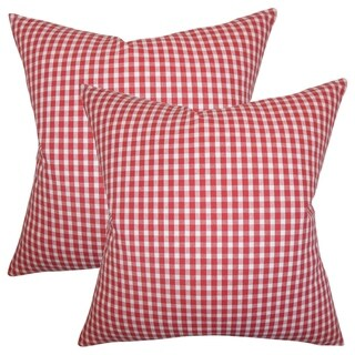 Set of 2  Jhode Plaid Throw Pillows in Red