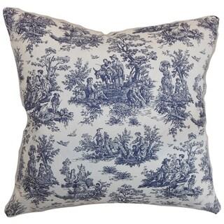 Set of 2  Lalibela Toile Throw Pillows in Blue
