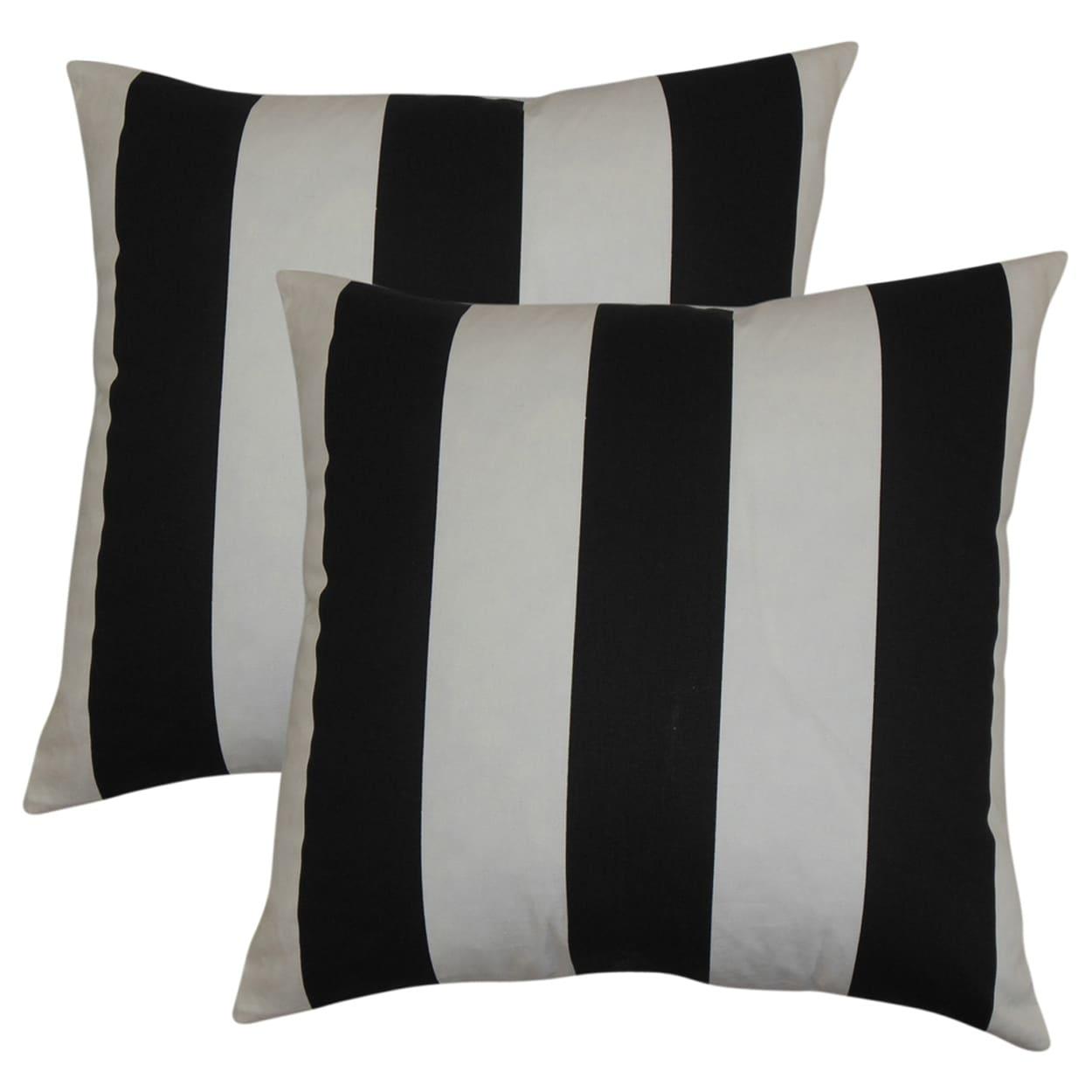 Set Of 2 Leesburg Stripes Throw Pillows In Black White