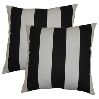 Set of 2  Leesburg Stripes Throw Pillows in Black White