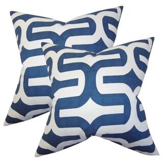 Set of 2  Jaslene Geometric Throw Pillows in Navy Blue