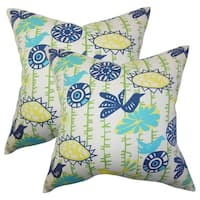 Set of 2  Nettle Floral Throw Pillows in Yellow Blue