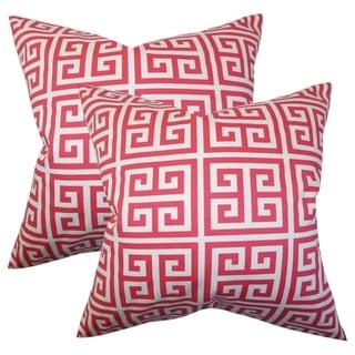 Set of 2  Paros Greek Key Throw Pillows in Pink