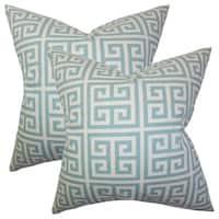 Set of 2  Paros Greek Key Throw Pillows in Blue
