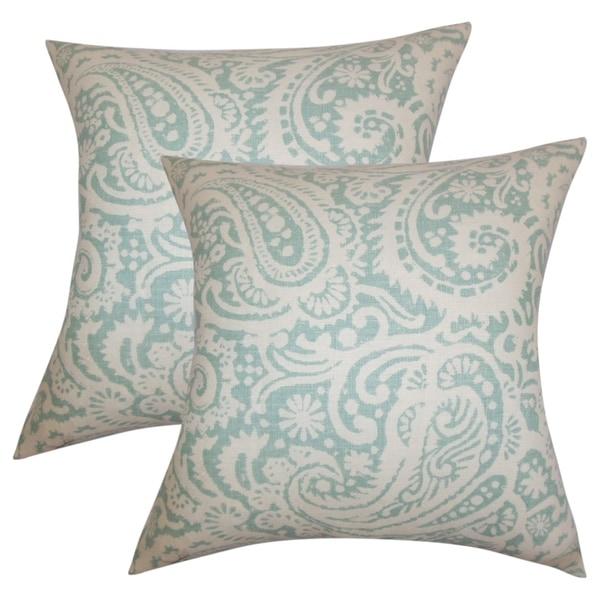Set Of 2 Nellary Paisley Throw Pillows In Aqua
