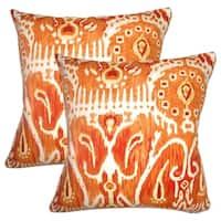 Set of 2  Haestingas Ikat Throw Pillows in Pumpkin