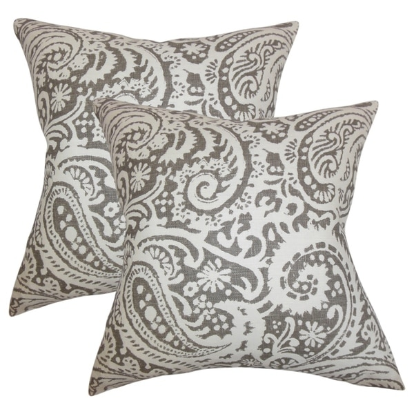 Set Of 2 Nellary Paisley Throw Pillows In Ash