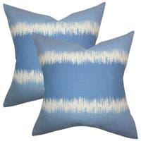 Set of 2  Juba Geometric Throw Pillows in Blue