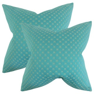 Set of 2   Kasen Solid Throw Pillows in Teal