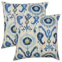 Set of 2  Abital Ikat Throw Pillows in Blue