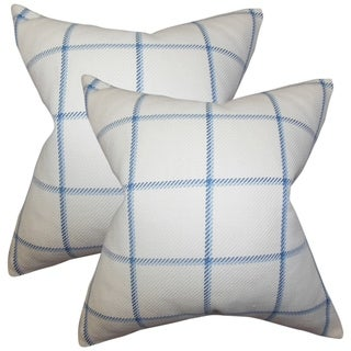 Set of 2  Wilmie Plaid Throw Pillows in Blue