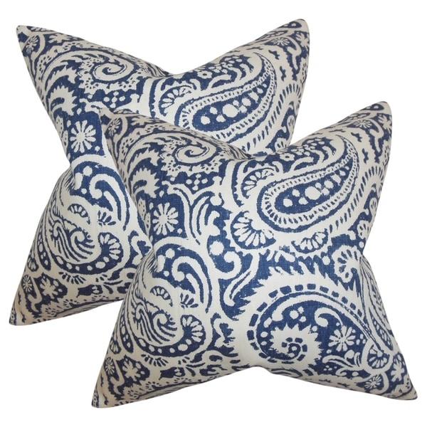 Set of 2 Nellary Paisley Throw Pillows in Indigo