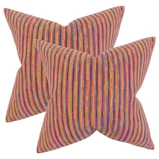 Set of 2  Qiturah Stripes Throw Pillows in Pink