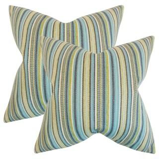 Set of 2  Janan Stripes Throw Pillows in Aqua