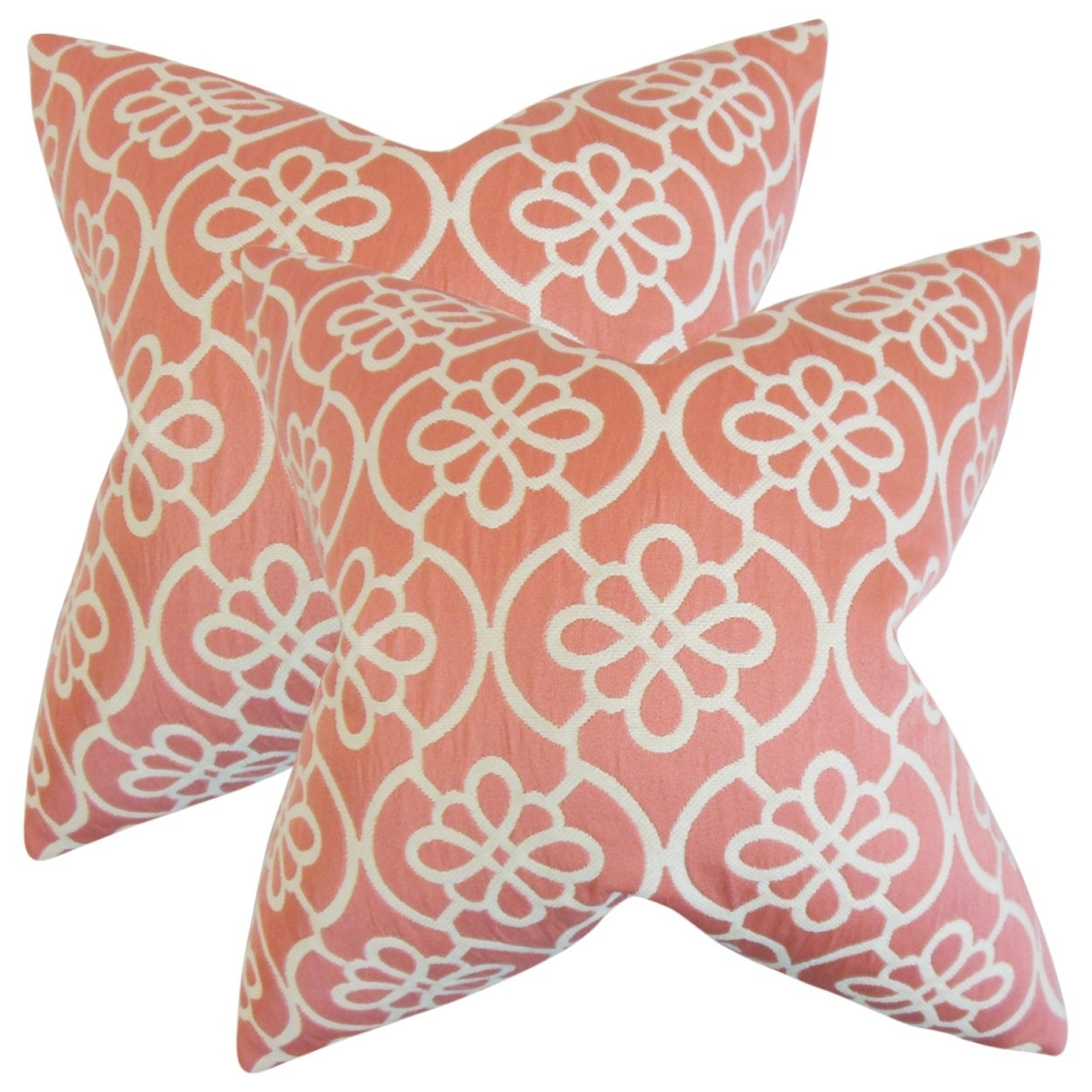 Set of 2  Indre Geometric Throw Pillows in Coral