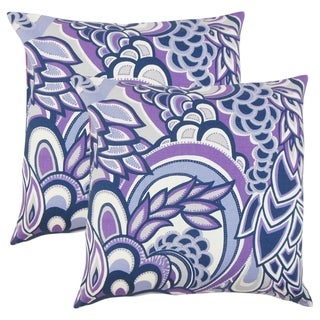 Set of 2  Michal Floral Throw Pillows in Plum