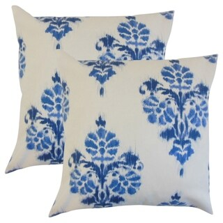 Set of 2  Edwige Ikat Throw Pillows in Blue