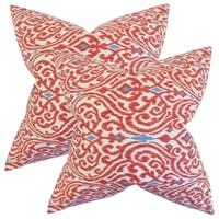 Set of 2  Ennis Ikat Throw Pillows in Red
