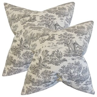 Set of 2 Ramira Toile Throw Pillows in Charcoal