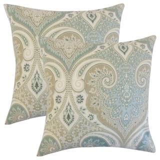 Set of 2  Kirrily Damask Throw Pillows in Seafoam
