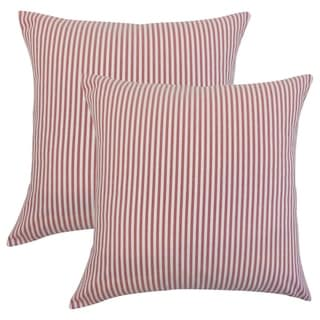 Set of 2  Ira Stripes Throw Pillows in Red