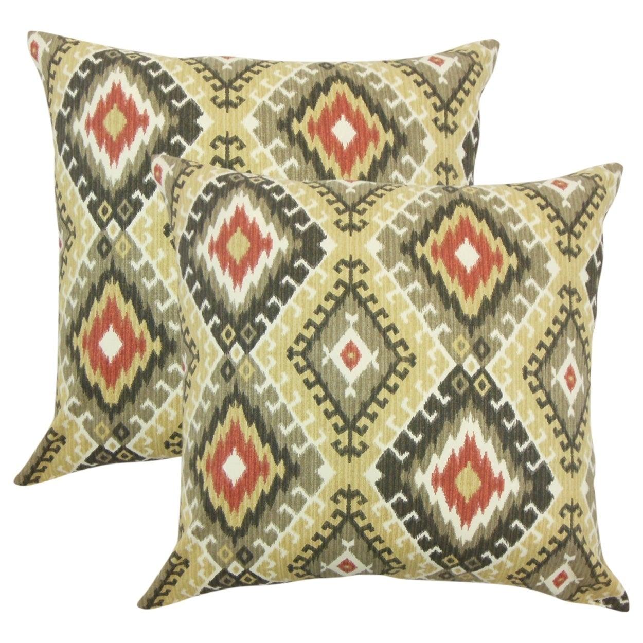 The Pillow Collection Jinja Ikat Throw Pillow Cover